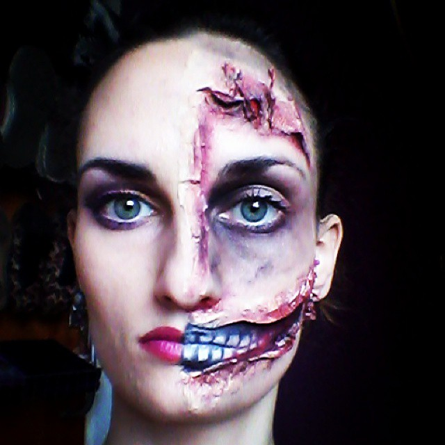 half face zombie makeup for halloween