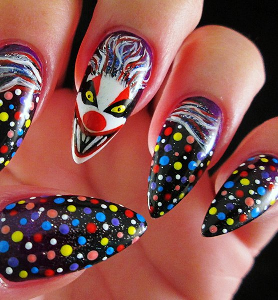 scary clown halloween nail art design