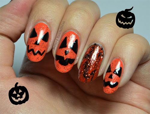 scary halloween pumpkin nails design