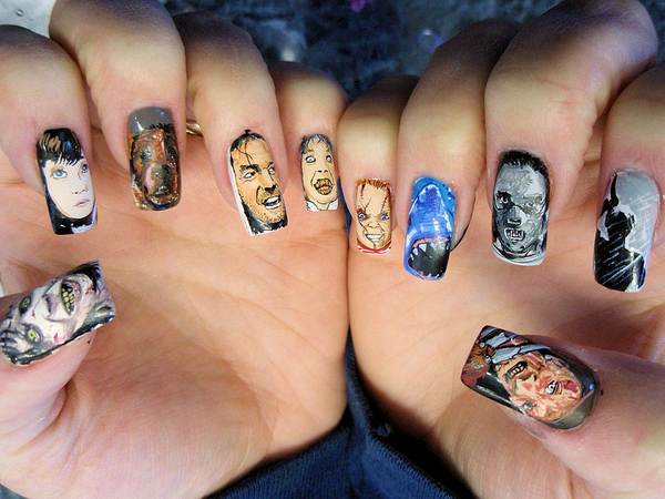 scary movies nails stickers for halloween