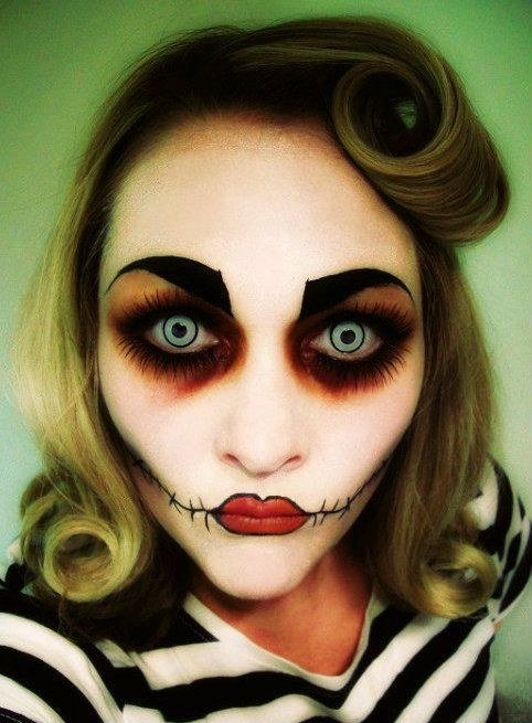 zombie girl face makeup for halloween