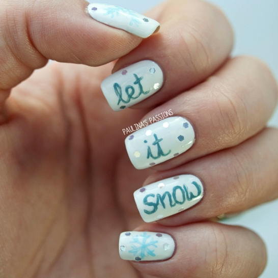 let it snow winter nails design