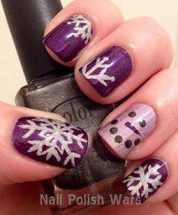 purple silver winter nails