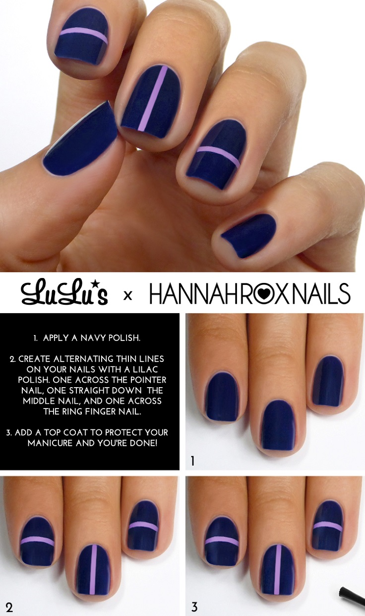 Navy Blue and Lilac Striped Mani