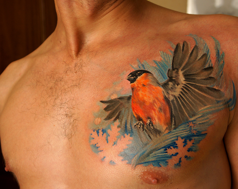 Bullfinch bird tattoo