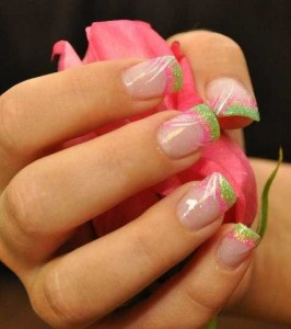 pink and green gorgeous nails