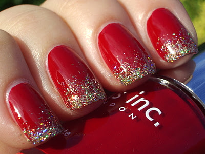 topcoat glitter gold deep red nails