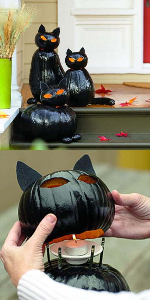 black-paint-cat-lantern-pumpkins