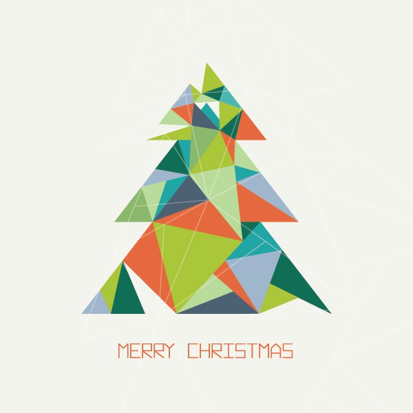 geometric Triangles Merry Christmas Tree
