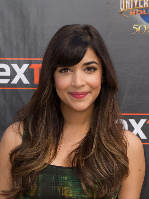 Hannah Simone Side Cut Bangs