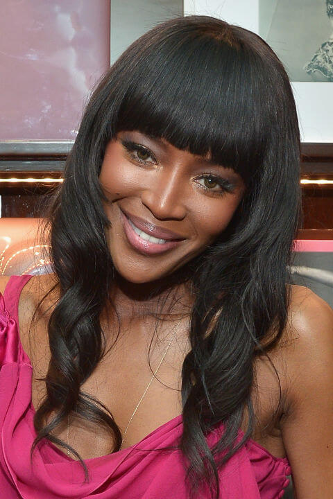 Naomi Campbell Long Curls Straight Bangs