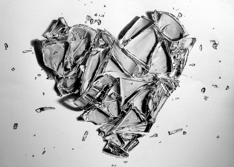 broken heart crashes like glass