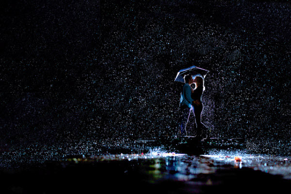 rain night kiss