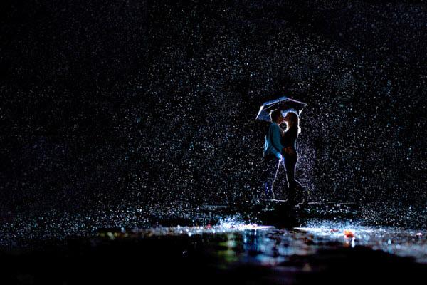 rain night kiss