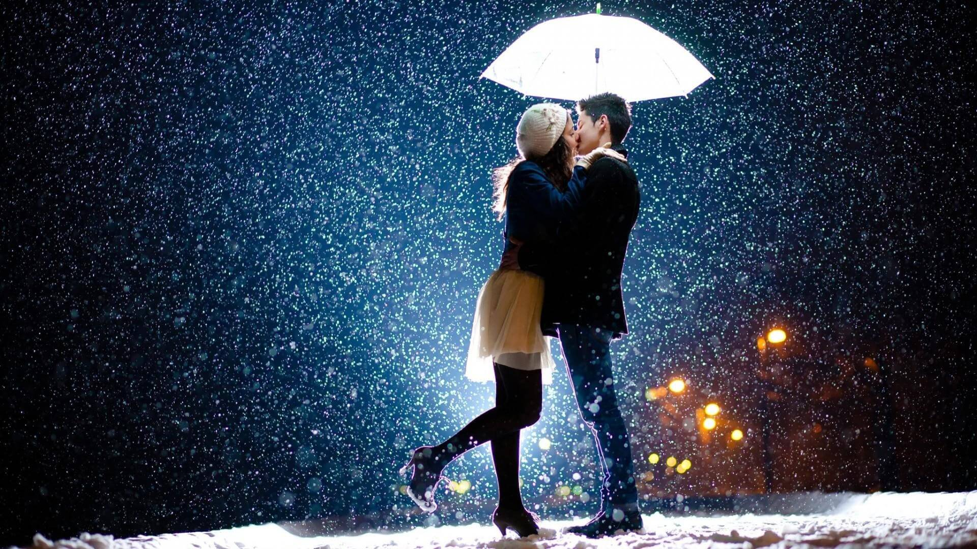 romance in snow rain
