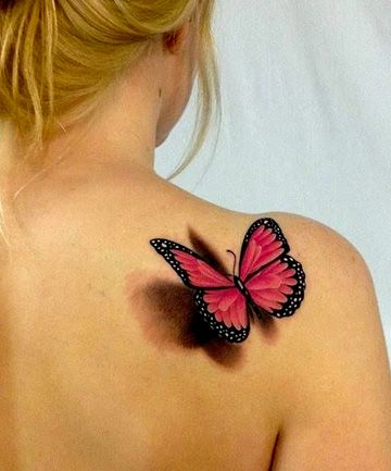 Gorgeous 3D Butterfly Tattoo on back shoulder for women
