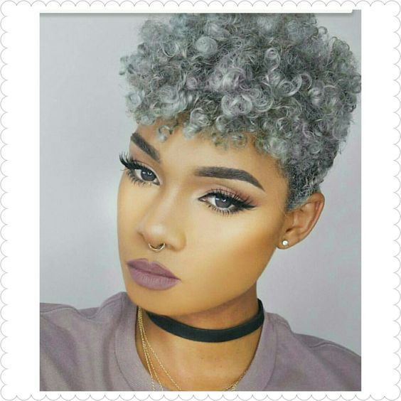 Gray crochet braids with shorter sides