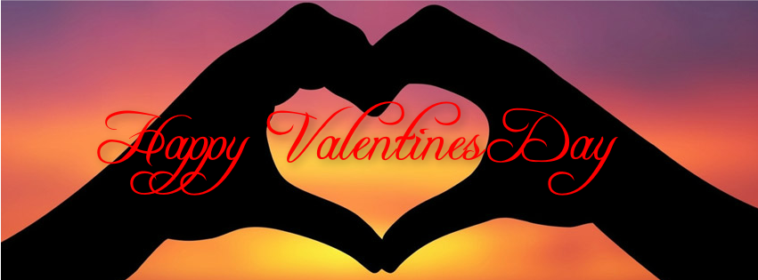 Happy Valentines Day hands heart shape fb cover