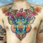 Magical Rainbow Chest Deer Tattoo