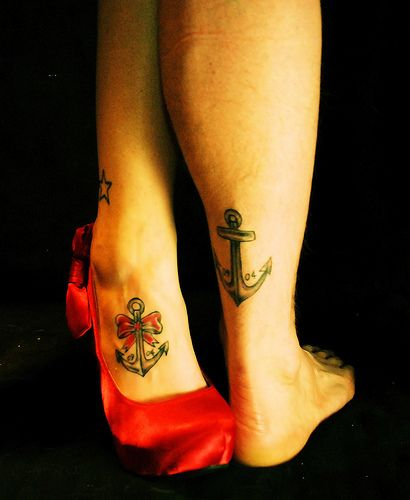 Romantic Couples Anchor Foot Tattoos