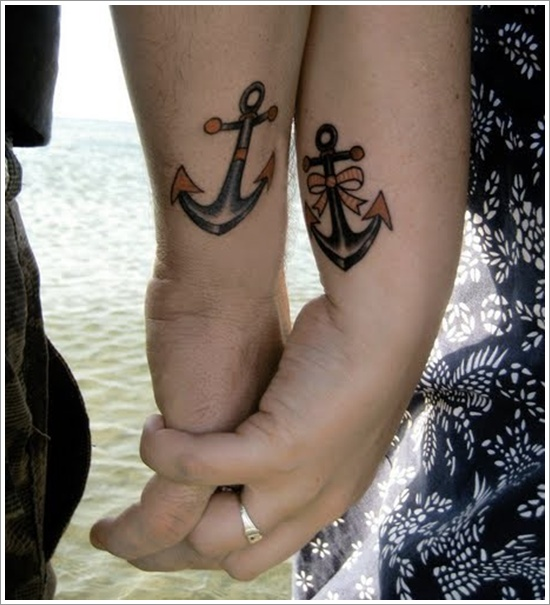 anchor tattoos for loving couples on hands