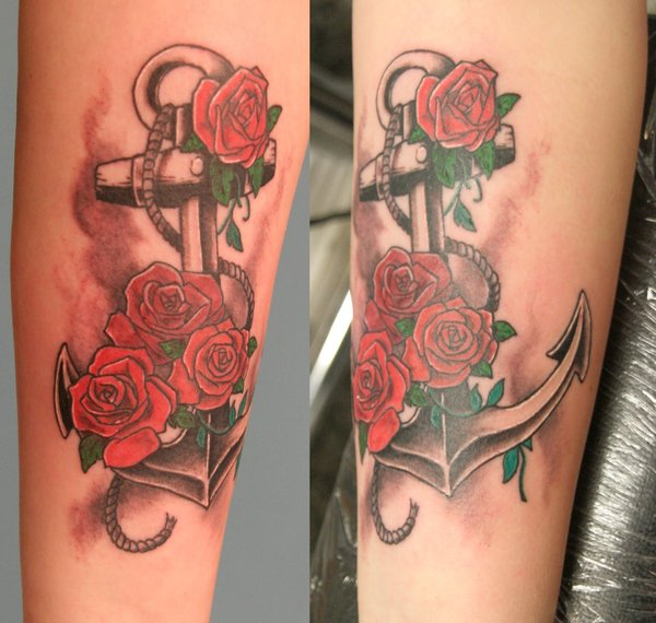 couples anchor rose tattoo