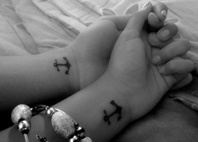 cute anchor wrist tattoos for couple
