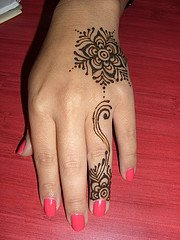 elegant hand and finger henna design