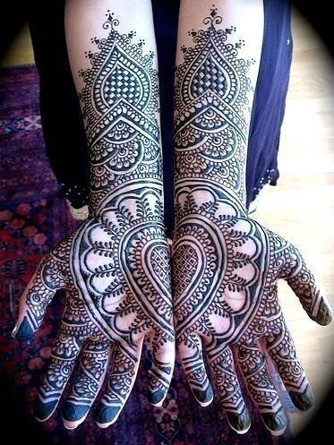 full hand bridal mehndi design pattern