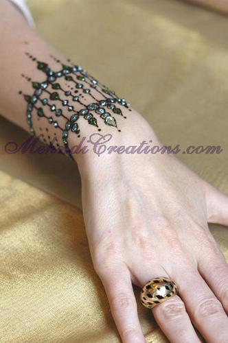 glitter wrist hand mehndi design