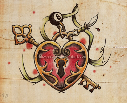 heart and key tattoo design sketch