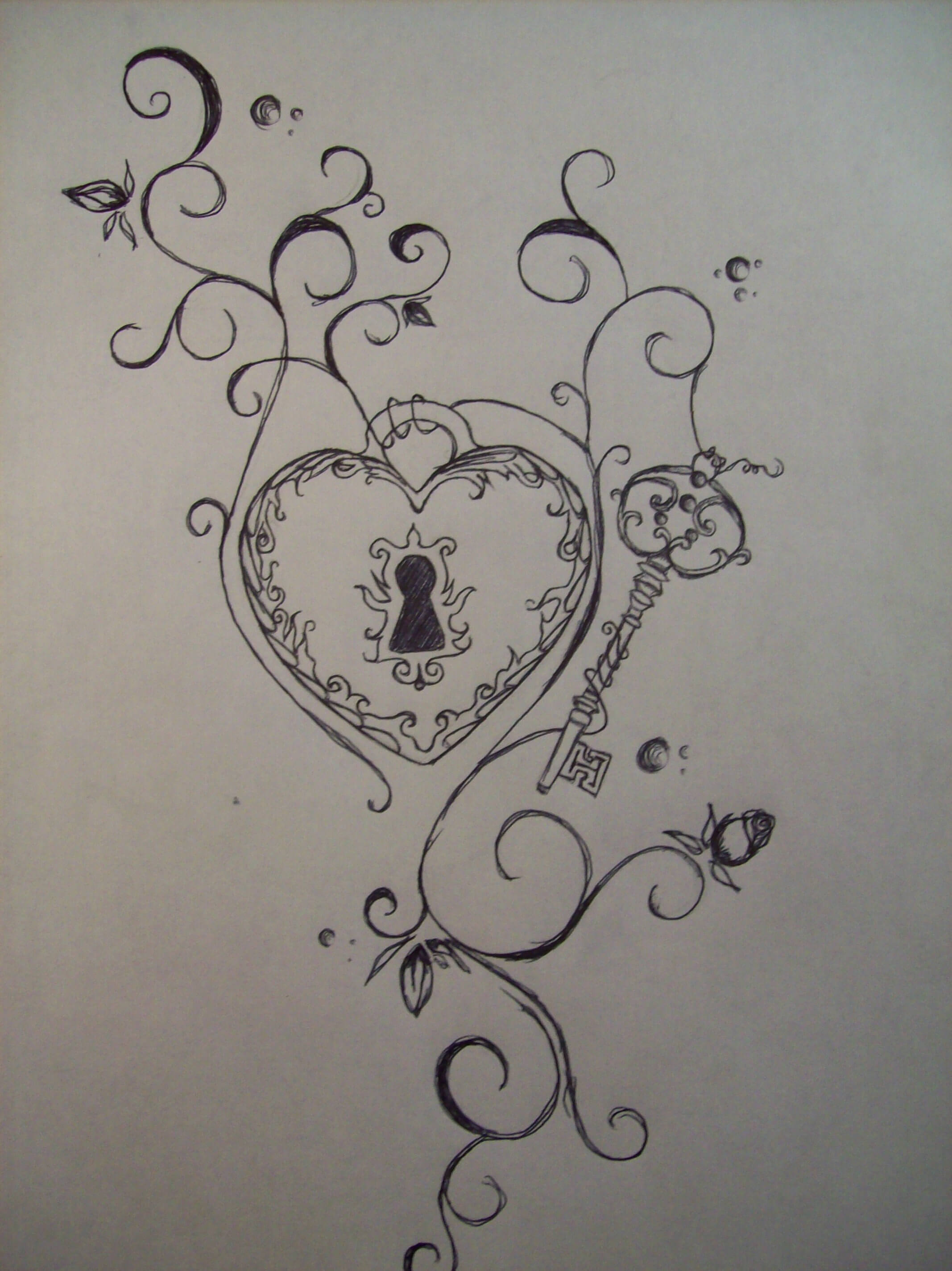 heart key rose sketch