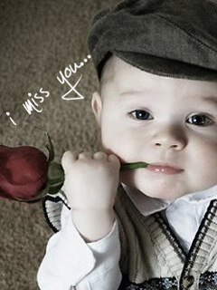 i miss you cute baby boy rose picture