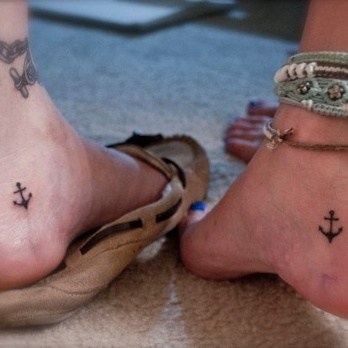 little anchor tattoos on couples feet