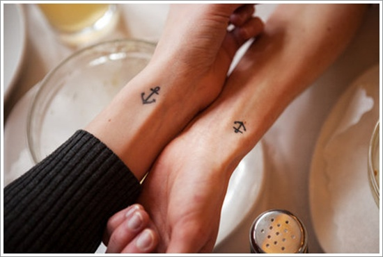 minimal anchor tattoos for couples on wrists