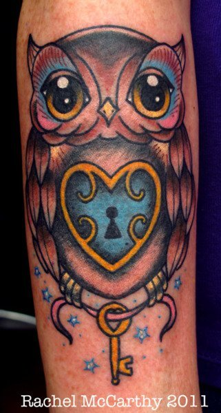 owl heart lock key tattoo