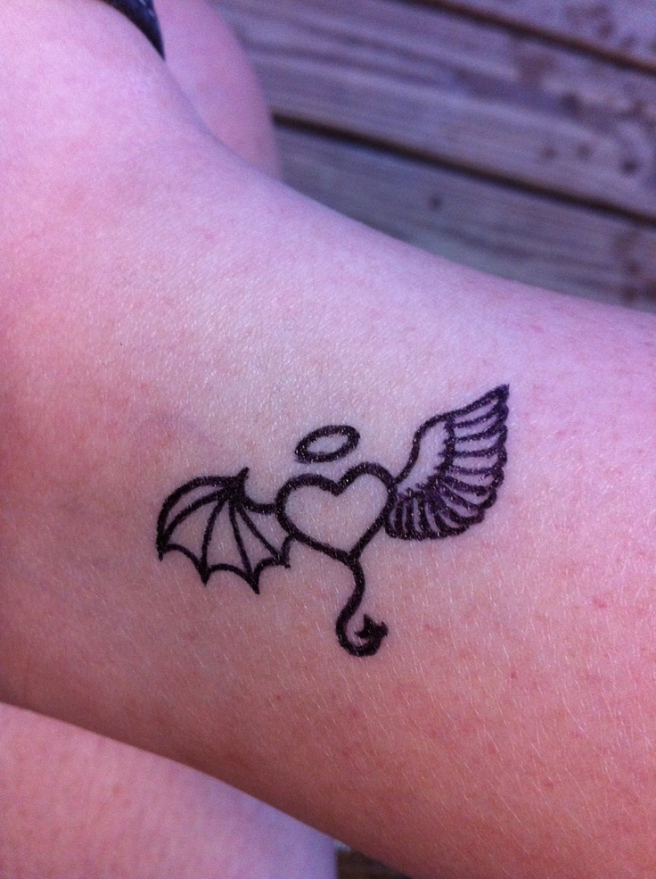 Angel and devil winged heart blessed cute tattoo