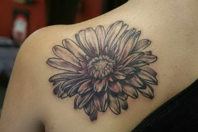 30 beautiful black and white flower tattoos for women for Single flower tattoo