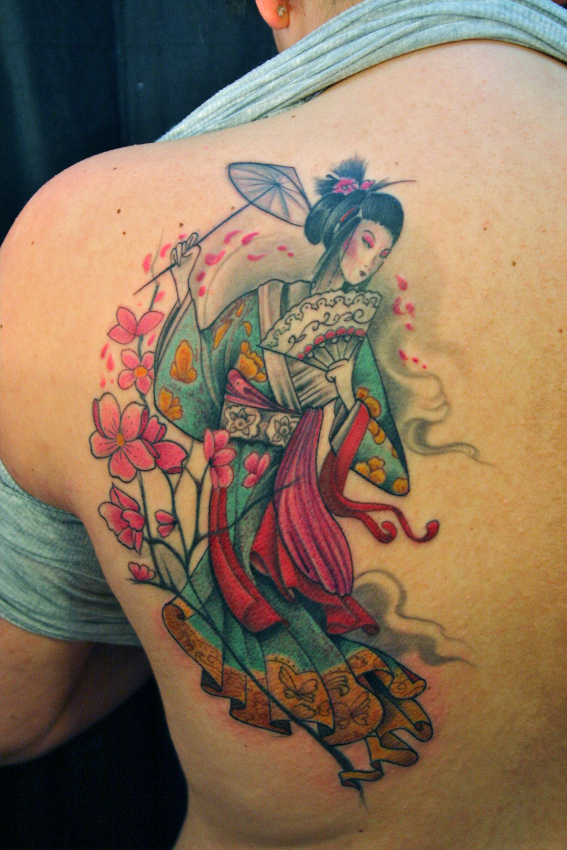Colorful Geisha tattoo painting