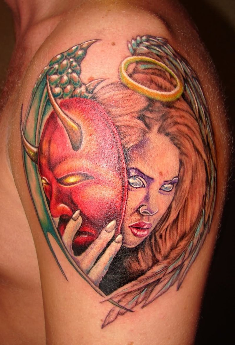 Colorful angel with devil masquerade tattoo