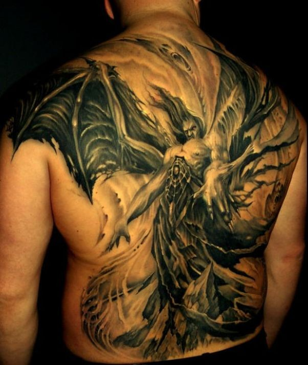 Fearful demon on back with great wings