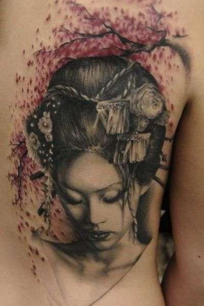 Head dressed Geisha girl tattoo