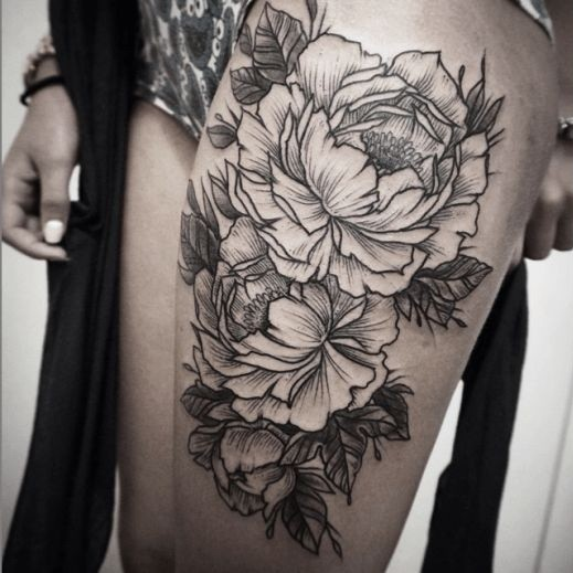 Rough-sided flower design for thigh
