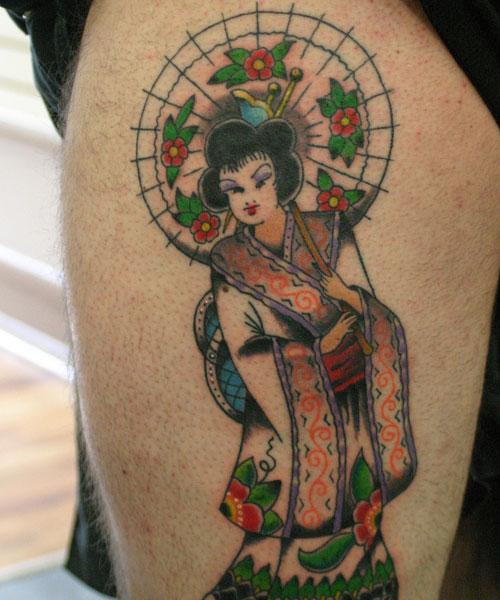Thigh tattoo colorful geisha
