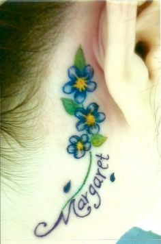 Think of loved one forget me not tattoo back ear