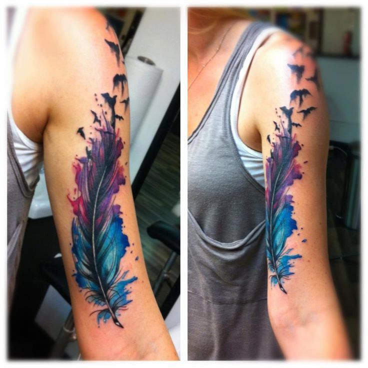 Watercolor feather arm Tattoo design