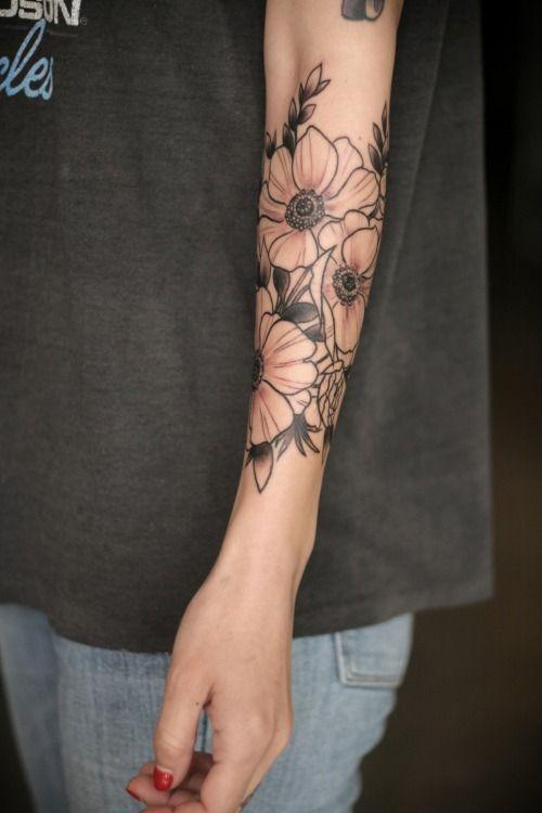Wonderful Light Ink Anemone Flower Tattoo Design