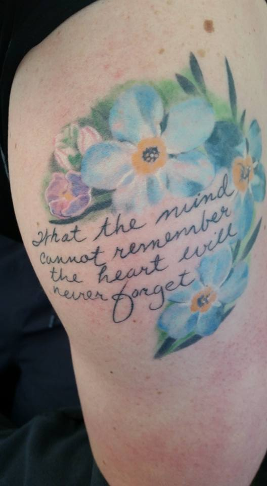 Words of love never forget me tattoo
