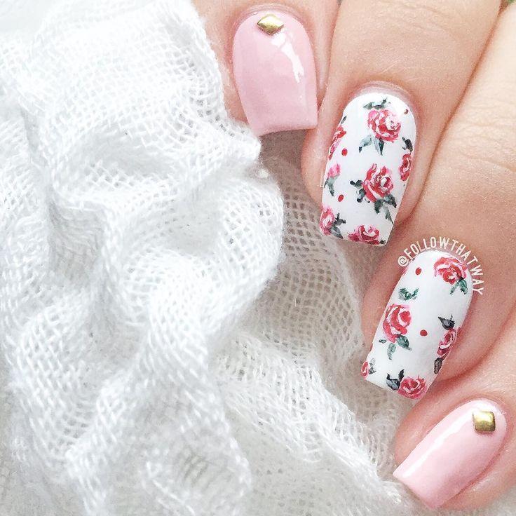 floral roses spring nails