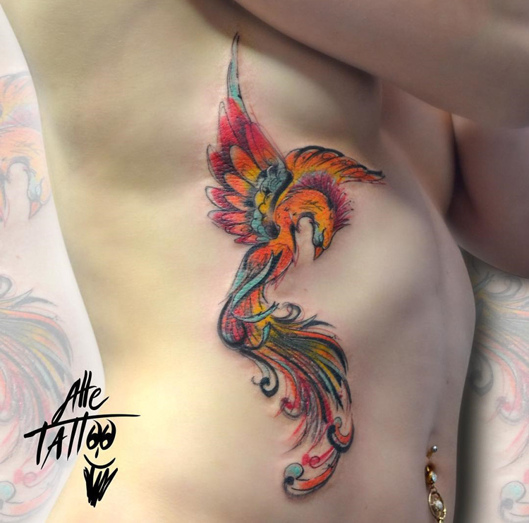 phoenix tattoo on ribs